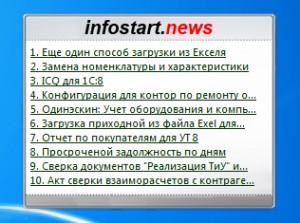 Infostart News - Гаджет для боковой панели Windows 7 и Vista